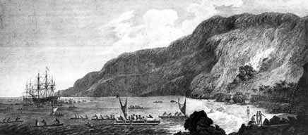 A1, Captain Cook and his ships in Kealakekua Bay, 1778